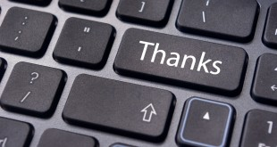 a thanks message on enter key of keyboard.